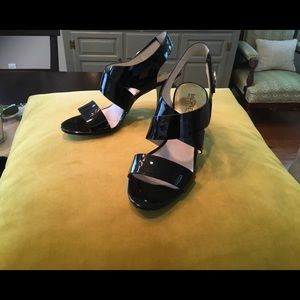 Michael Kors  black Patent  leather strappy sandal
